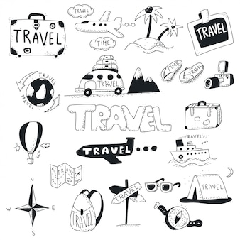 Travel doodles icon set.
