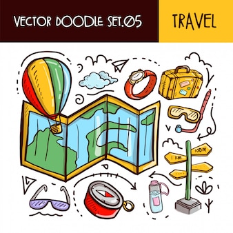 Travel doodles icon. vector illustration set