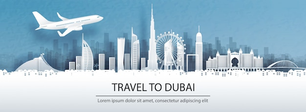Travel to dubai with famous landmark.