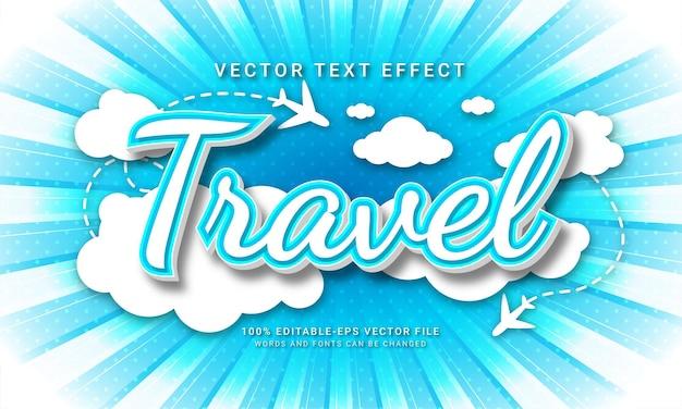 Редактируемый текстовый эффект путешествия с праздничными темами