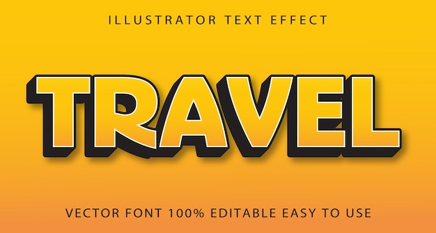 Travel   editable text effect