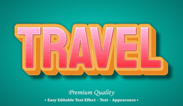 Travel  editable text style effect