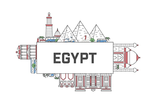 Travel egypt lettering in linear style