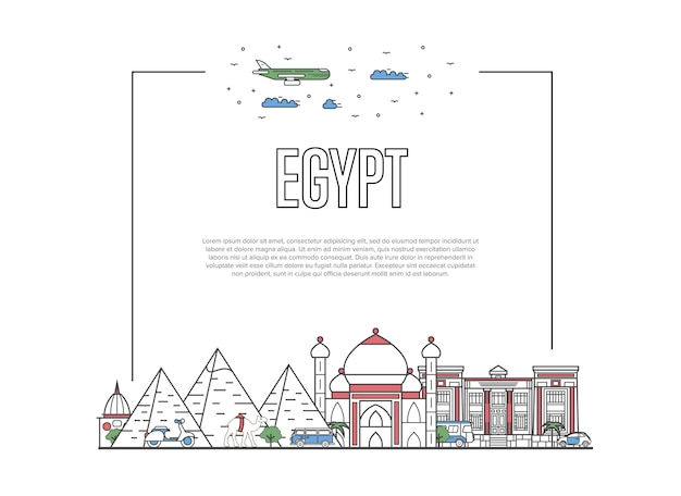 Travel egypt template in linear style
