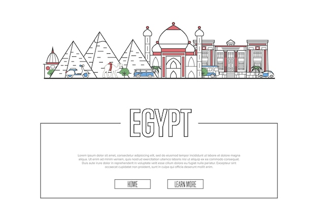 Travel egypt web template in linear style