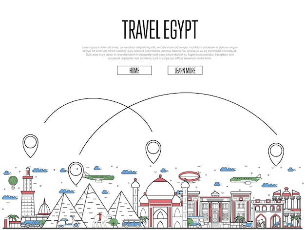 Travel egypt website in linear style