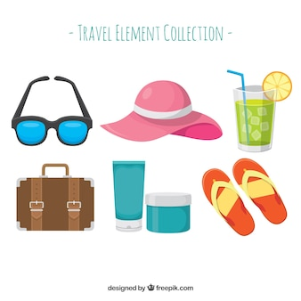 Travel element collection in flat design