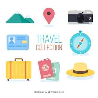 Collezione di elementi da viaggio con design piatto