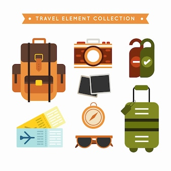 Travel element collection with flat design