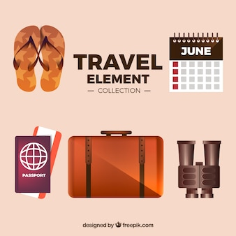 Travel element collection with realistic style