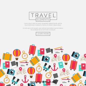 Travel elements background in flat style