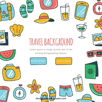 Travel elements background in hand drawn style