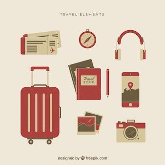 Raccolta di elementi di viaggio in stile piatto