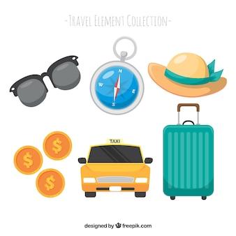 플랫 스타일의 여행 요소 컬렉션