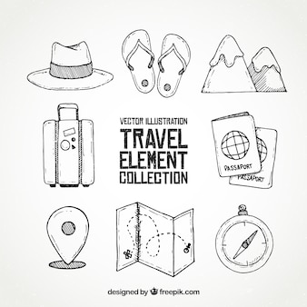 Travel elements collection in hand drawn style