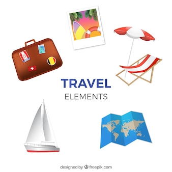 Travel elements collection in realistic style