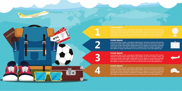 Travel elements infographic template