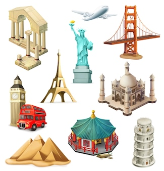 Travel elements set in 3d style