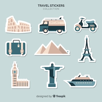 Travel elements stickers collection