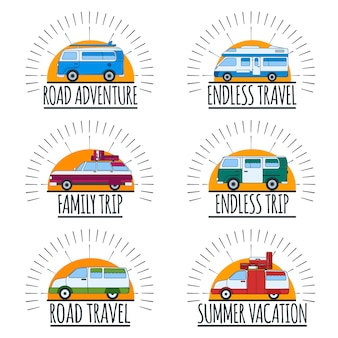Travel emblems. set of vans with text. road adventure, summer vacation