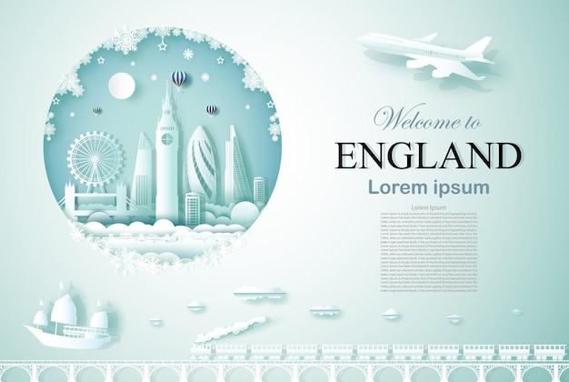 Travel england ancient and castle architecture monument with happy new year