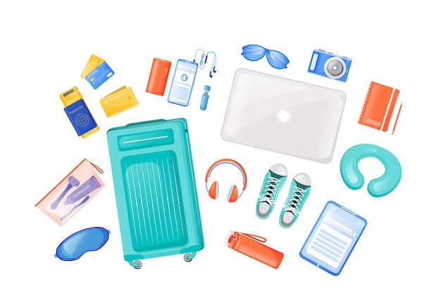 Travel essentials flat color objects set. carry on bag. gadgets and headphones. freelancer journey equipment. flight checklist. 2d isolated cartoon illustration on white background