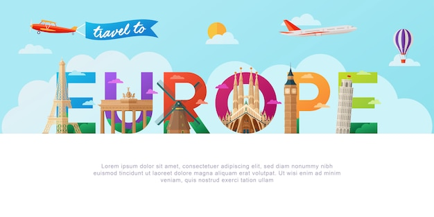 Travel to europe lettering typography