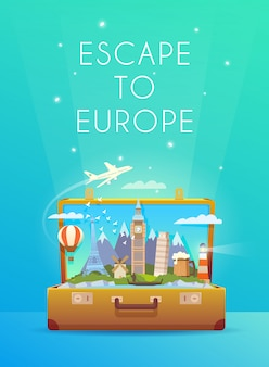 Travel to europe. road trip. tourism. open suitcase with landmarks. modern flat design.