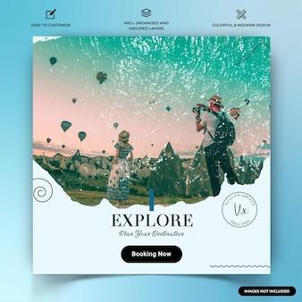 旅行探検家instagramの投稿ウェブバナーテンプレートプレミアムベクトル