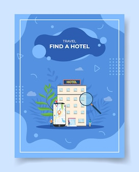Travel find a hotel people around smartphone map pointer location in screen display hotel building