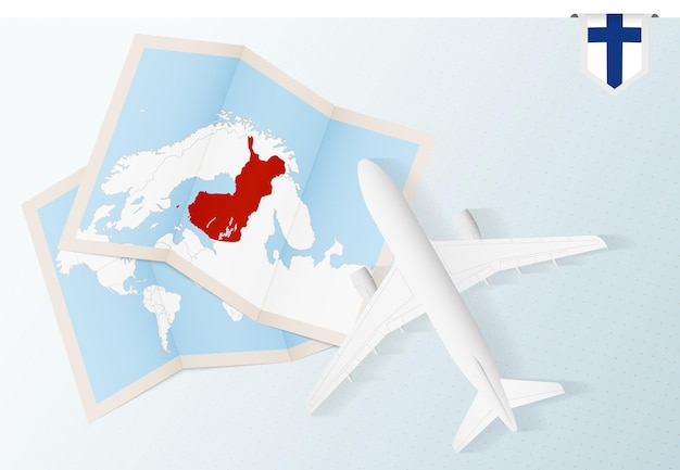 Travel to finland, top view airplane with map and flag of finland.