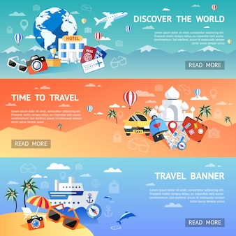 Travel flat banner set