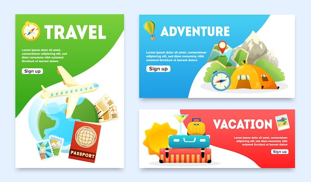 Travel flat banners set with airplane passport globe tourist tent compass map suitcase