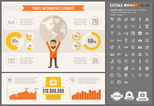 Travel flat design infographic template and icons set