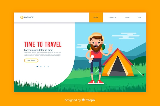 Travel flat design landing page template