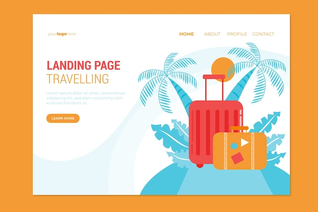 Шаблон посадочной страницы travel flat design