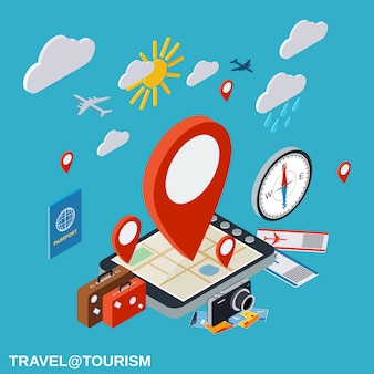 Travel flat isometric vector concept illustration