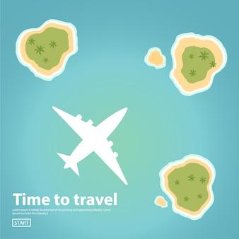 Путешествие полет на пассажирском самолете. отдых на тропическом острове.
