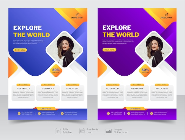 Travel flyer design and brochure cover page or poster design template premium vector