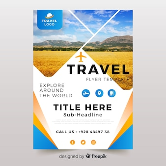 Travel flyer/poster template with photo
