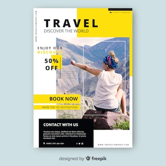 Travel flyer template with discount