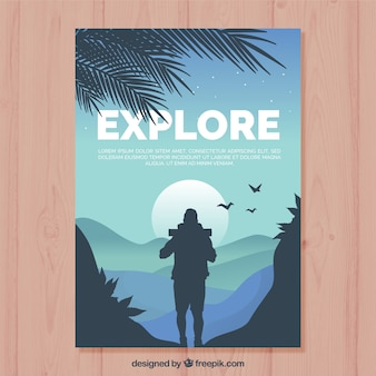 Travel flyer template with flat design