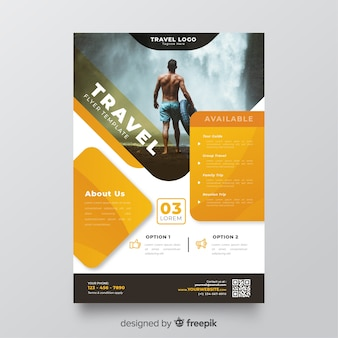 Travel flyer template with image