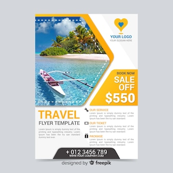 Travel flyer template with kayak