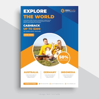 Travel flyer template with modern design