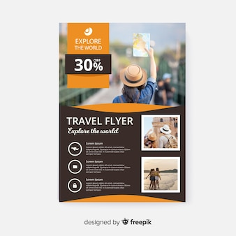 Travel flyer template with photo and details