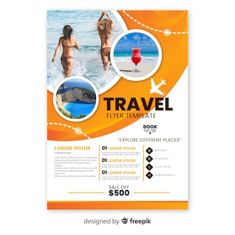 Travel flyer template with photo