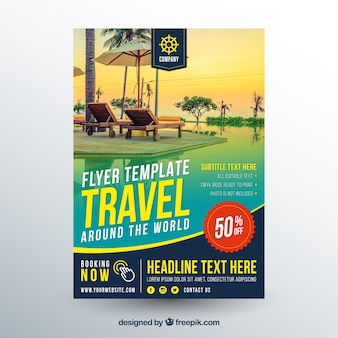 Travel flyer template with photography