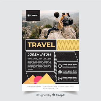 Travel flyer template with traveler