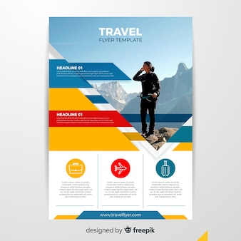 Travel flyer template with woman